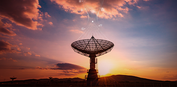 A radio telescope pointing to the sky